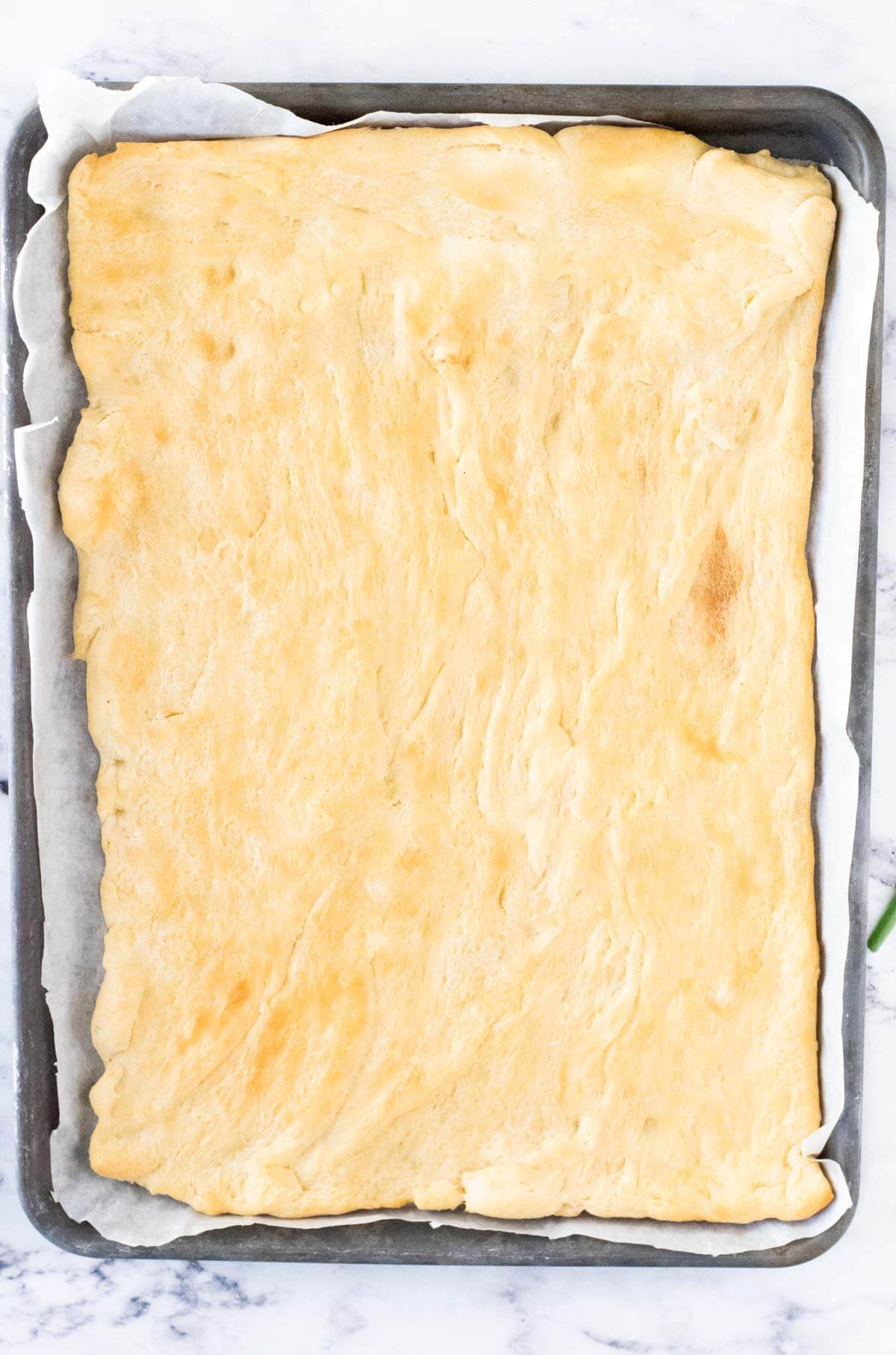 Baked crescent roll dough.