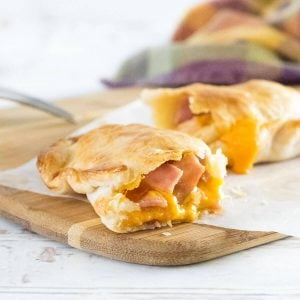 Homemade hot pockets recipe showing ham and Cheddar.
