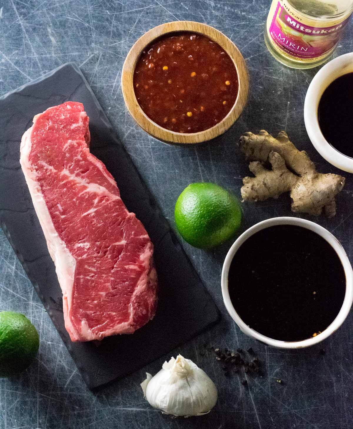 Ingredients needed for an Asian steak marinade shown from above.