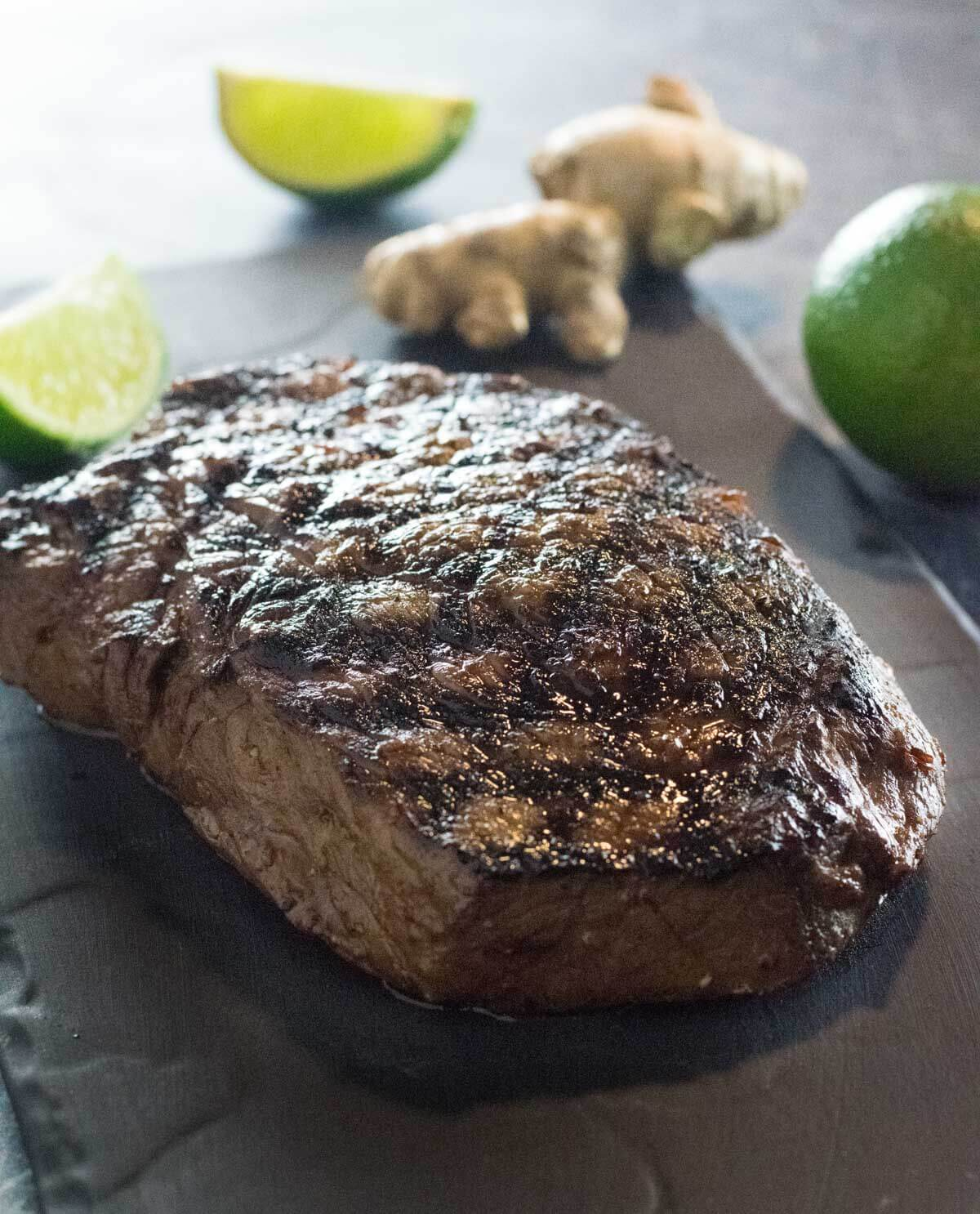 Grilled steak marinated in Asian flavors.