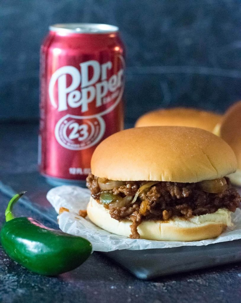 Diablo Sandwich with a Dr Pepper behind it.