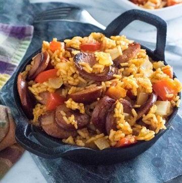 Kielbasa and rice recipe.
