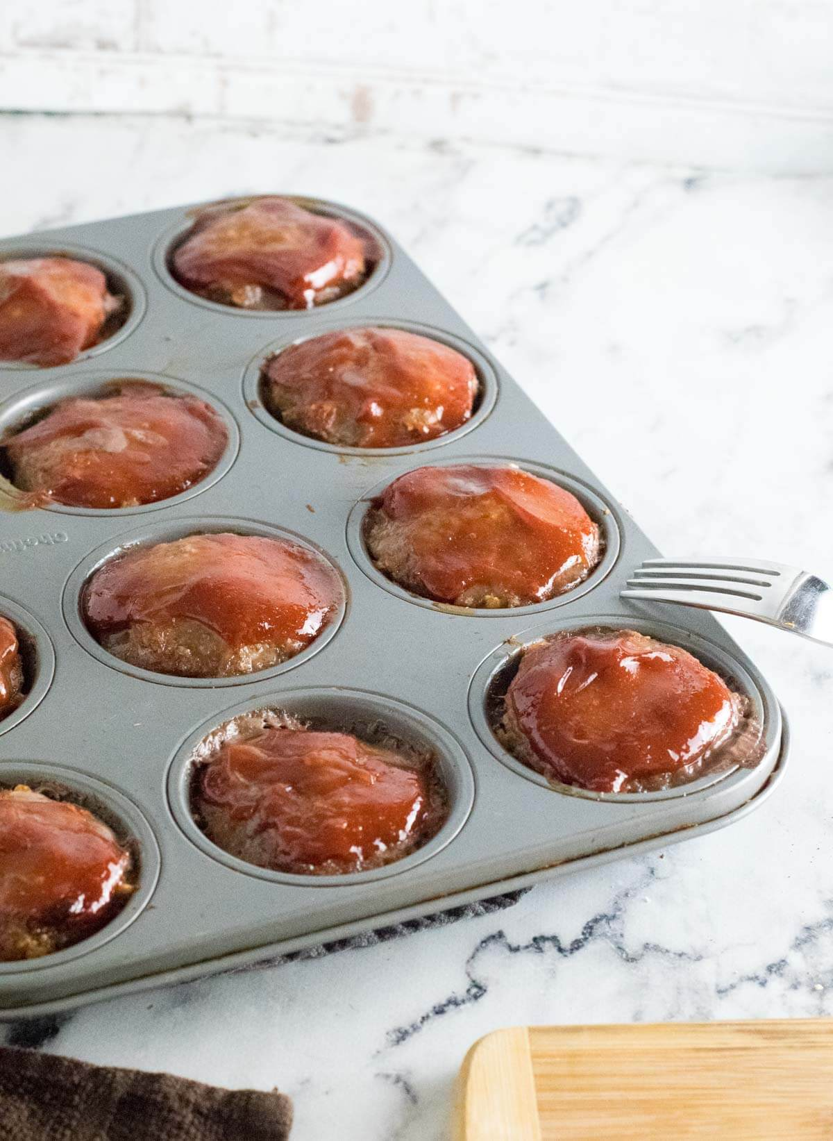 Meatloaf in muffin tin.