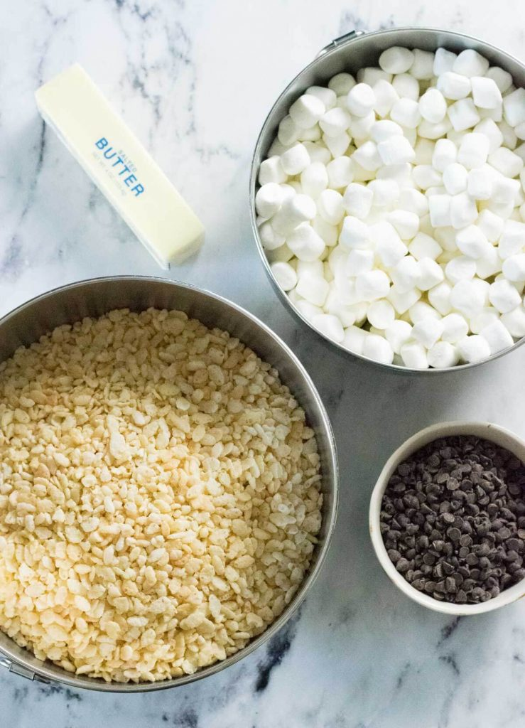 Showing ingredients for chocolate chip Rice Krispie treats.