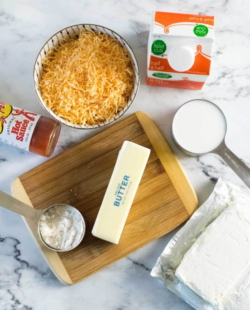 Ingredients for making this homemade cheese sauce.