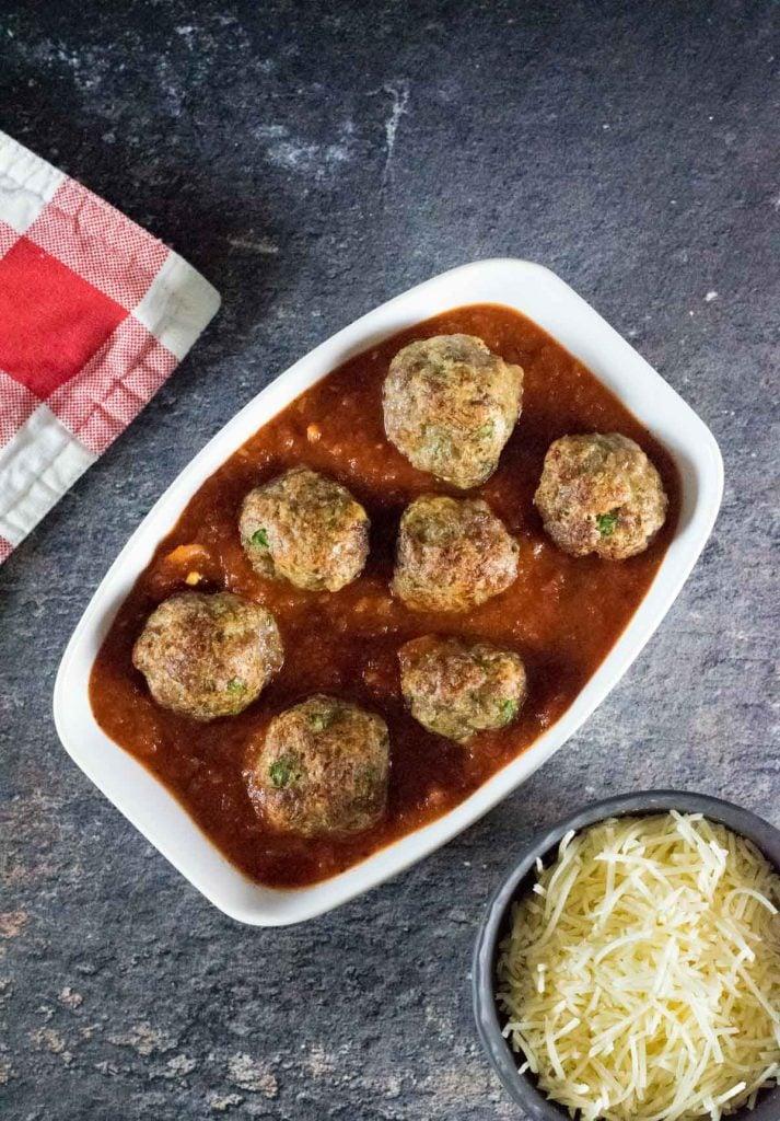 Italian Sausage Meatballs in pasta sauce.
