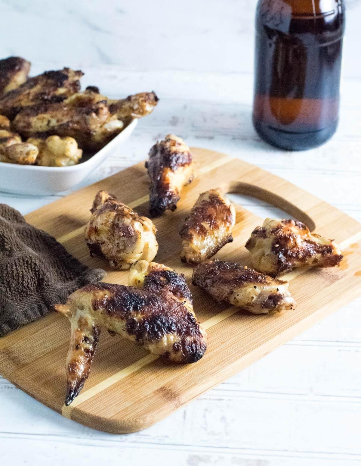 Serving beer brined chicken wings.