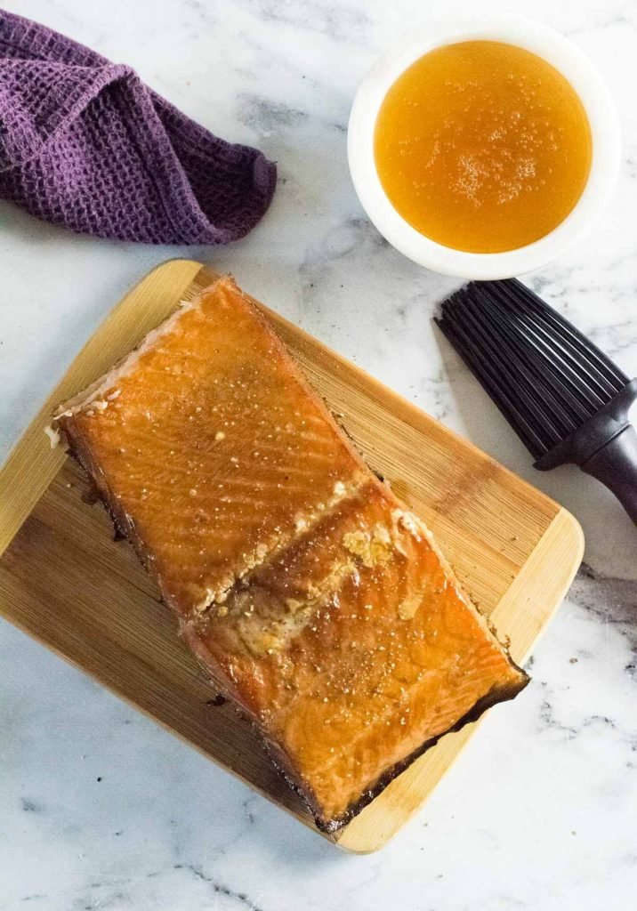 Smoked salmon with a honey glaze shown from above.