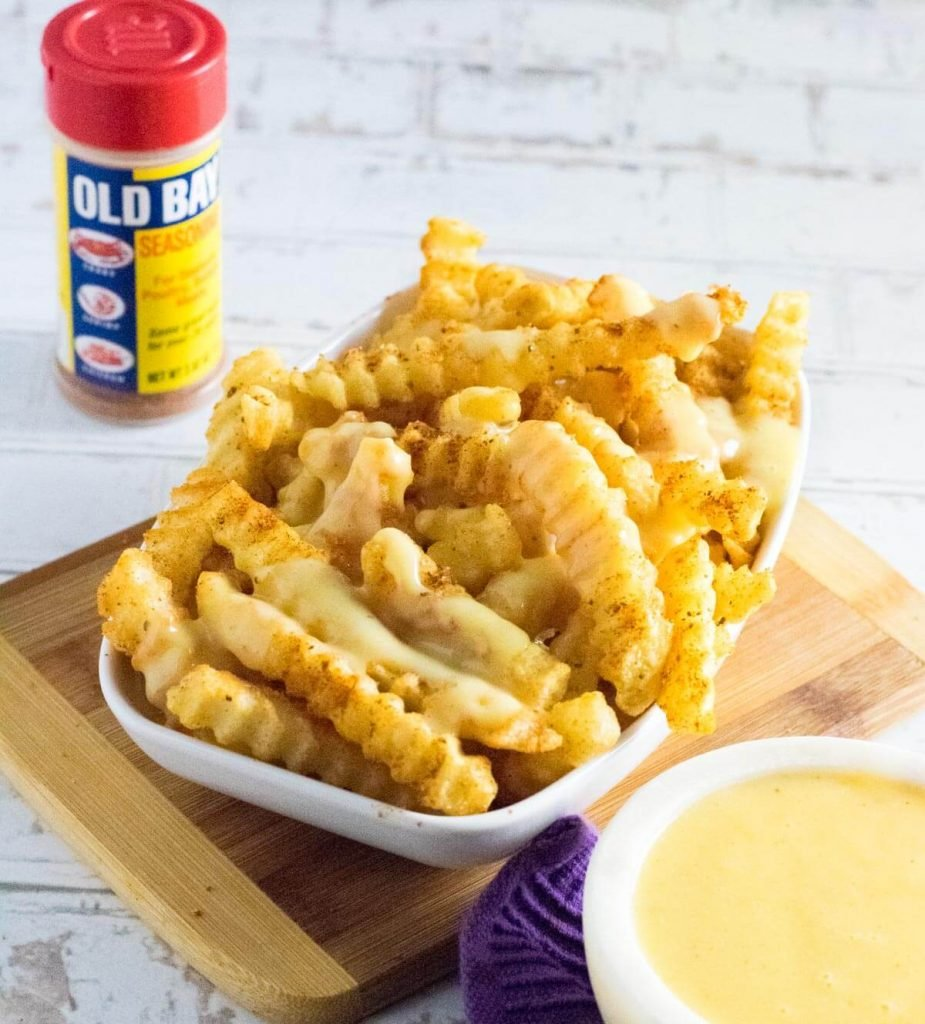 Old Bay Crab Fries in serving dish.