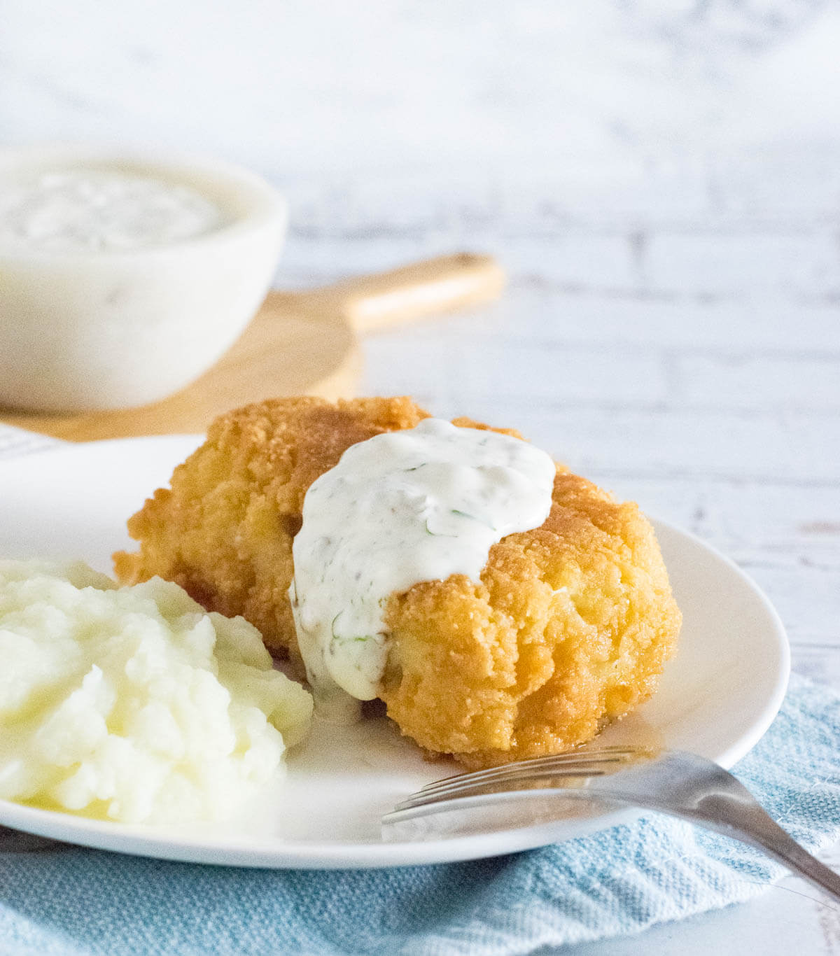 Old fashioned tartar sauce on fish fry.