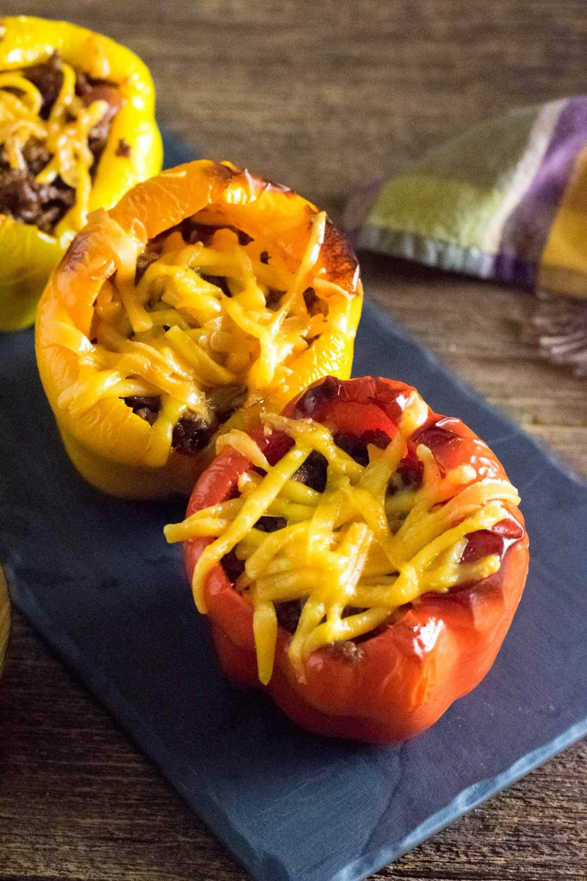 BBQ stuffed peppers on tray.