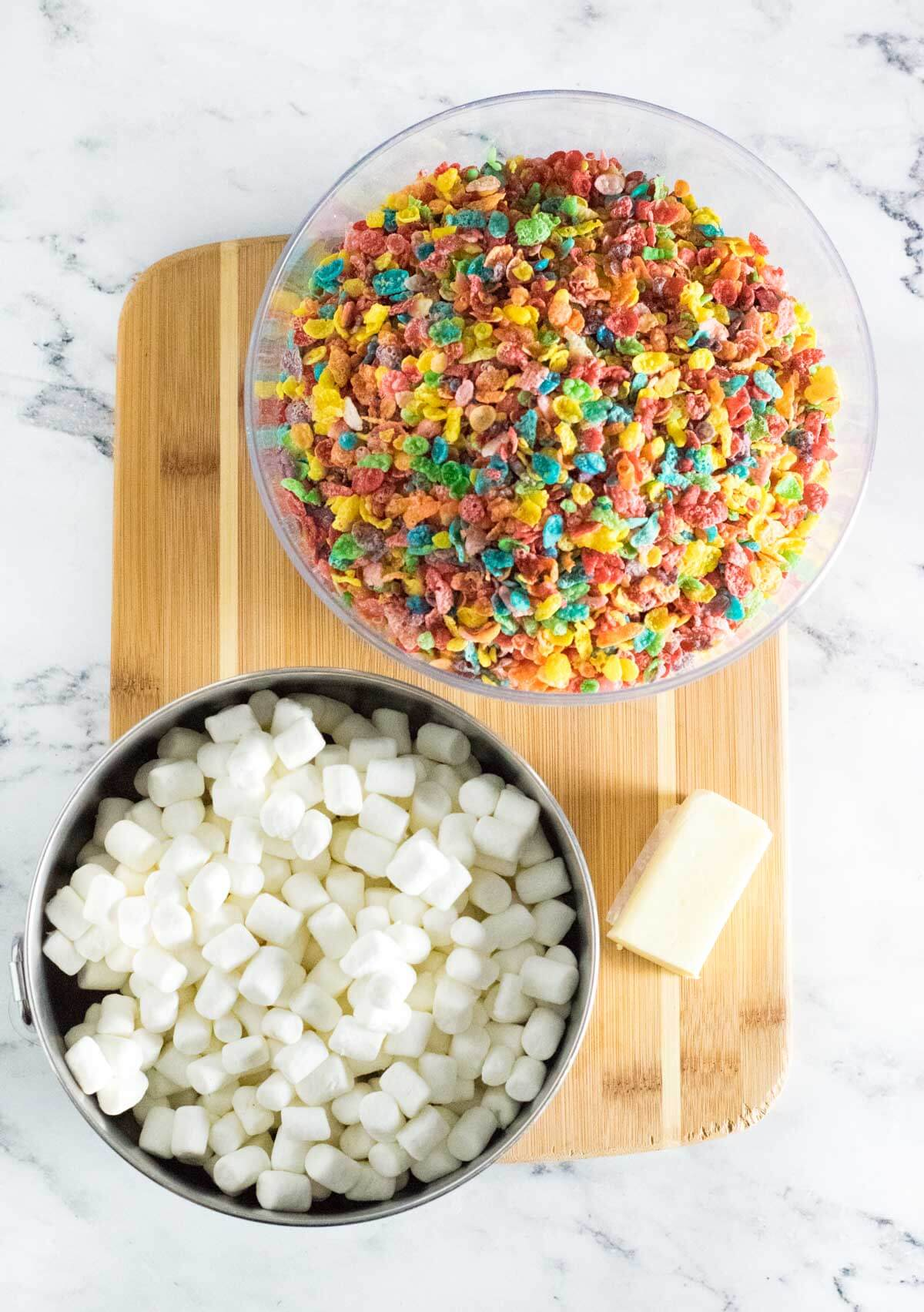 View of ingredients needed for Fruity Pebble treats.