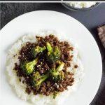 Ground beef and broccoli stir fry.