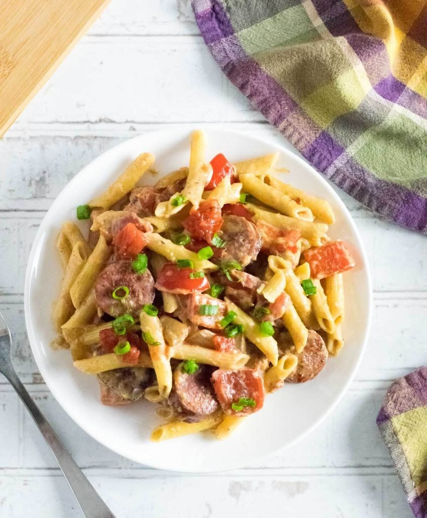 Andouille sausage pasta viewed from above.