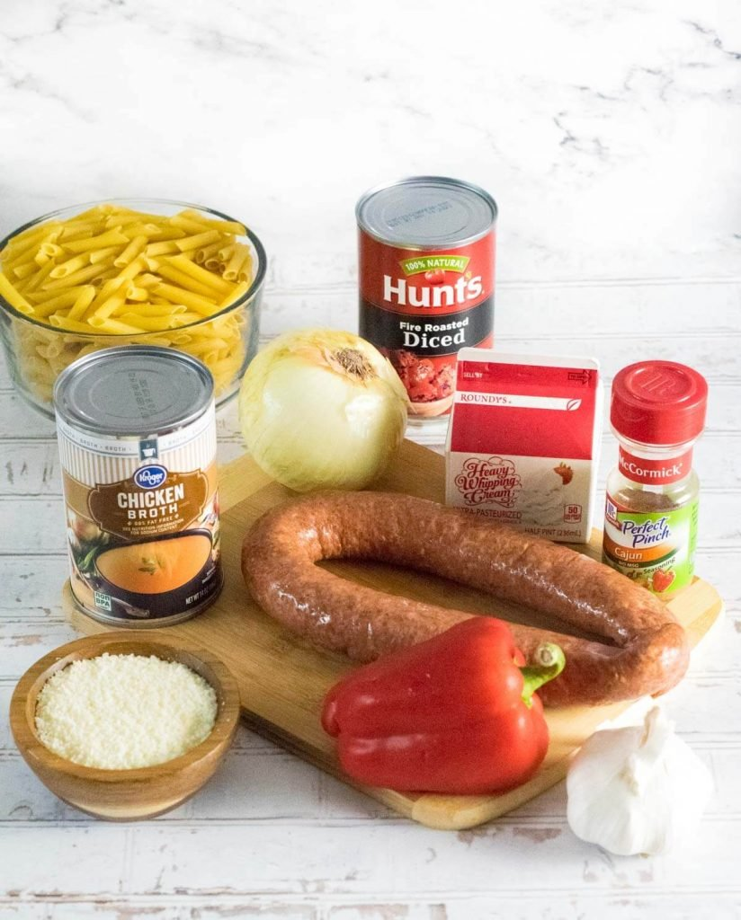 Ingredients for andouille sausage pasta.