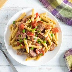 Andouille sausage pasta recipe.