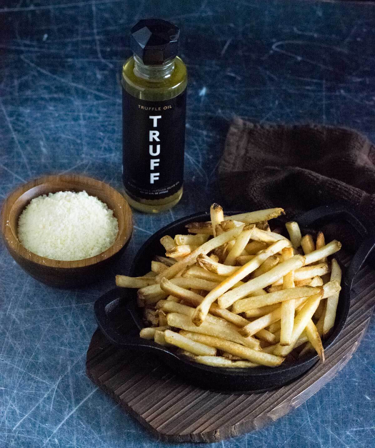 Showing ingredients for truffle fries recipe.