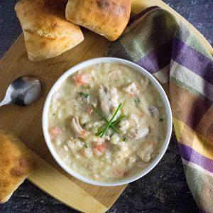 Chicken and potato soup recipe.