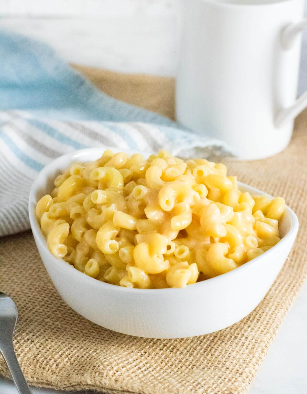 Mac and cheese without milk served in bowl.